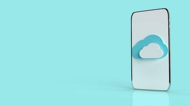 Eine mobile wolke auf blauem hintergrund für das inhalts-3d-rendering