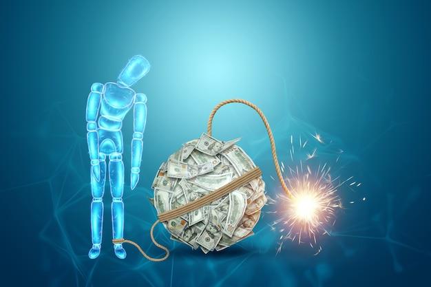 Eine neon-hologramm-puppe steht neben einer geldbombe. finanzkrise fürchten konzept, konkurs, ersparnisse, kredite, schulden.