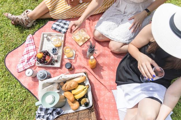 Eine obenliegende ansicht von den freundinnen, die auf picknick genießen