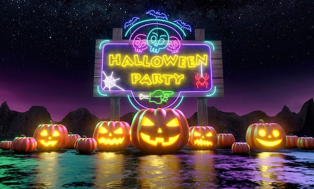 Eine reihe kürbisse jack'o lantern vor einer werbetafel, die sie zu einer lustigen halloween-party einlädt.