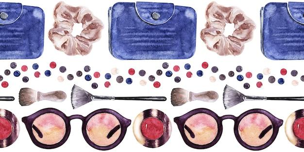 Eine reihe nahtloser aquarellmuster mit verschiedenen accessoires für damen