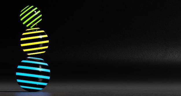 Eine reihe von abstrakten farbigen kugeln auf einem dunklen hintergrund. 3d-rendering.