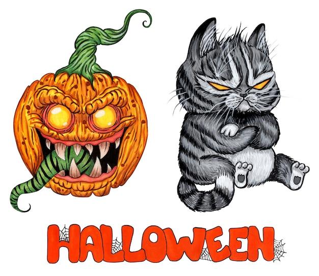Eine reihe von bildern für halloween eine gruselige katze mit leeren gelben augen und ein dämonischer kürbis mit grün