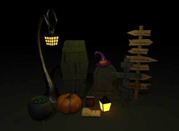 Eine reihe von dingen für halloween 3d-rendering