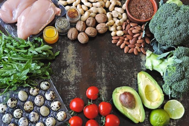 Eine reihe von gesunden produkten für diätfutter
