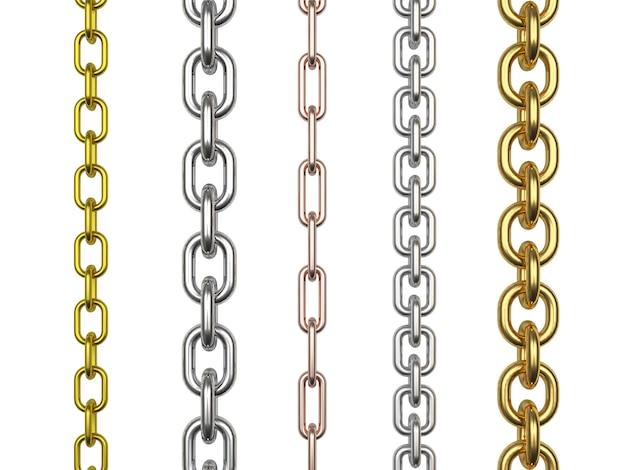 Eine reihe von ketten aus verschiedenen metallen