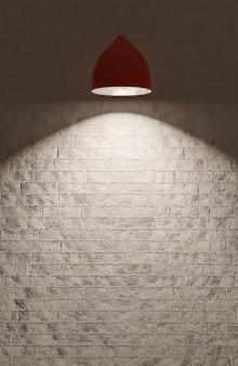 Eine rote deckenleuchte beleuchtet eine weiße ziegelwand., 3d-modell und illustration.