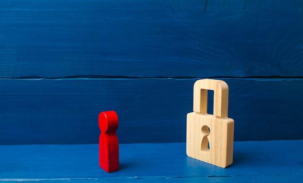 Eine rote figur eines mannes schaut auf ein vorhängeschloss. informationen, eingang.