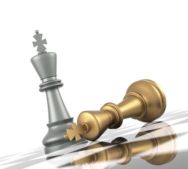Eine schachpartie geht zu ende. der könig ist schachmatt. dreidimensionales rendering