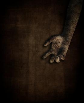 Eine schmutzigen weiblichen hand auf grunge-hintergrund 3d übertragen