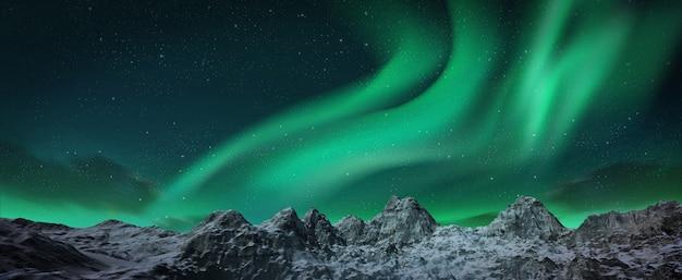 Eine schöne grüne aurora, die über die hügel tanzt.