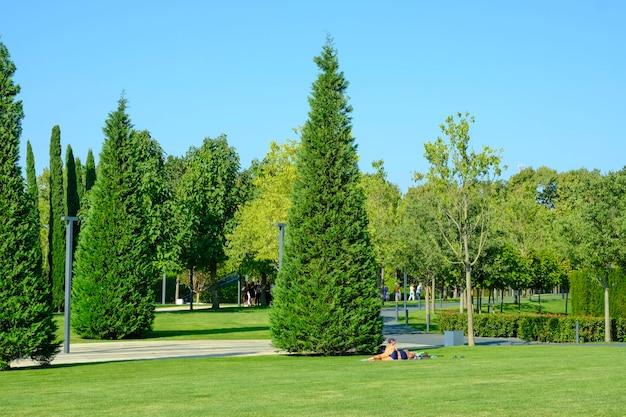 Eine schöne landschaft des parks und ein erholungsgebiet in der stadt.menschen, die sich sonnen und entspannen/