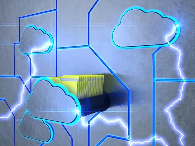 Eine schublade in form einer wolke mit ordnern.