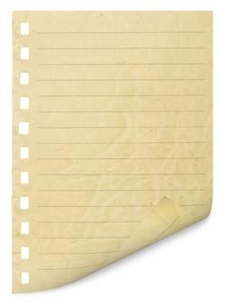 Eine seite aus dem notizbuch abgerissen.