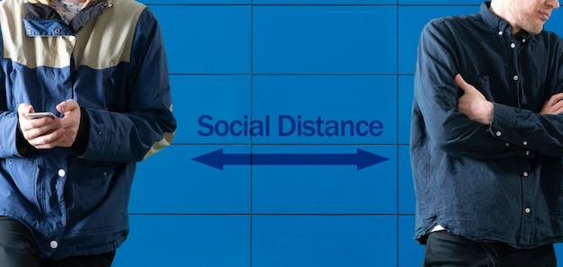 Eine soziale distanz zwischen den menschen, virenschutz, pandemie-quarantäne
