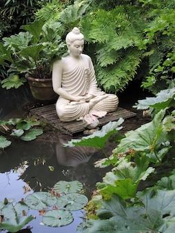 Eine statue von buddha, die in einem teich sitzt.