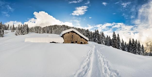 Eine strecke im schnee von skibergsteigern mit fellen