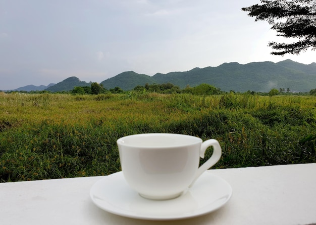 Eine tasse kaffee mit wiese und bergblick