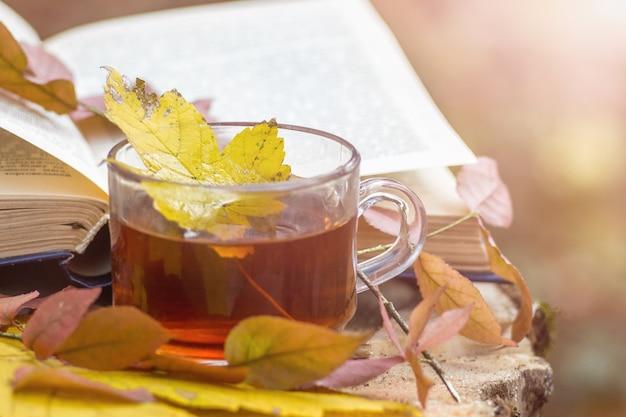 Eine tasse tee mit einem ahornblatt in der nähe eines offenen buches im wald im herbst. bücher lesen und outdoor-aktivitäten im freien