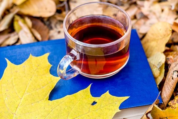 Eine tasse tee und ein gelbes ahornblatt auf einem buch mit einem blauen umschlag im herbstwald