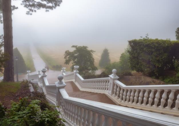 Eine treppe, die in den kaiserlichen palastpark im nebel in massandra . führt