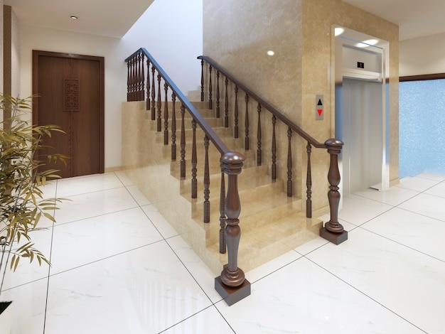 Eine treppe und ein aufzug in einem luxuriösen spa-komplex. 3d-rendering.