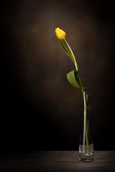 Eine tulpe in einer vase. klassisches stillleben mit einer einzelnen tulpenblume in einer vintagen glasvase auf einem dunklen hintergrund und einem alten holztisch.