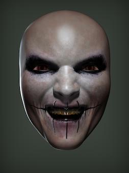 Eine unheimliche maske. 3d-darstellung