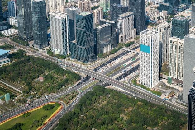 Eine vogelperspektive der städtischen architektonischen landschaft in shenzh