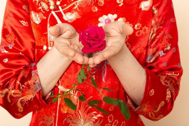 Eine vorderansicht schöne japanische geisha im traditionellen roten japanischen kleid mit haarstäbchen, die das halten der roten rose elegant auf der cremefarbenen hintergrundzeremonie darstellen, die japan ost unterhält