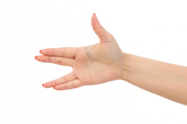 Eine vorderansicht weibliche hand mit farbigen nägeln erhob handausdruck auf dem weiß