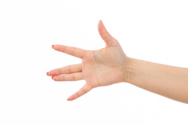 Eine weibliche hand der vorderansicht mit den farbigen nägeln hob hand auf dem weiß an