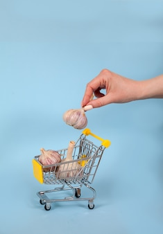 Eine weibliche hand legt einen knoblauchkopf in einen supermarktkorb
