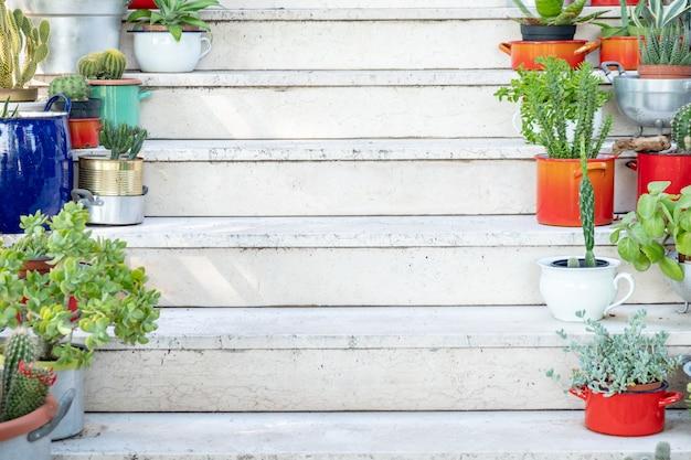 Eine weiße treppe zu hause mit schönen blumen in den töpfen im sommer.