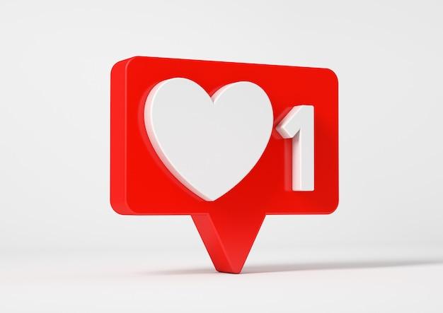 Eine wie social media benachrichtigung mit daumen hoch symbol, isoliert auf weiß