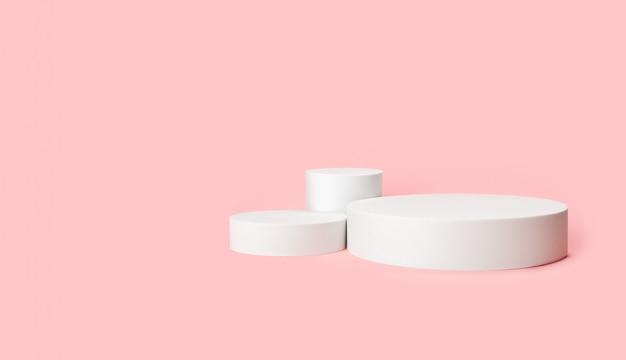 Einfache cilinder-podien für die produktausstellung. weiße podien für make-up-werbung. horizontaler copyspace.