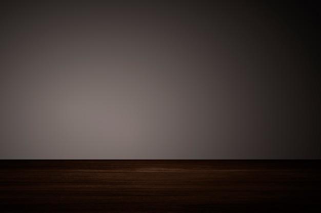 Einfache dunkelbraune wand mit holzboden-produkthintergrund