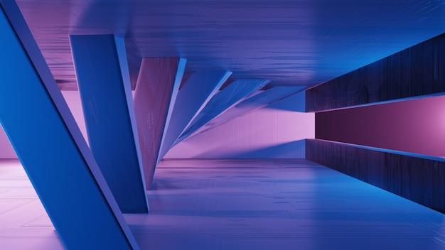Einfache geometrische formen des 3d-rendering-sci-fi-innenraums landschaft einer fantastischen fremden stadt