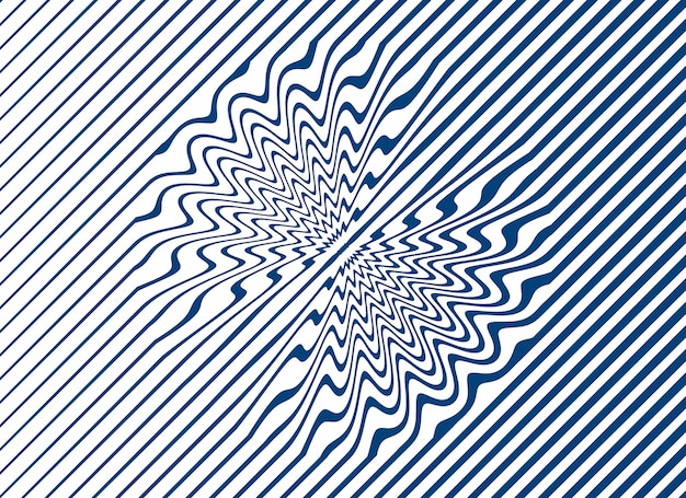 Einfache geschwungene linienstreifen in blau auf weißem hintergrund