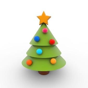 Einfache illustration des weihnachtsbaumes auf einem weißen hintergrund