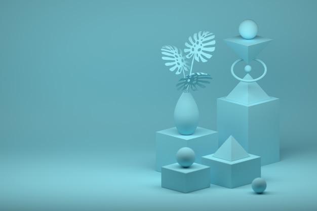 Einfache komposition mit grundformen und vase mit monstera-pflanze in blauer farbe