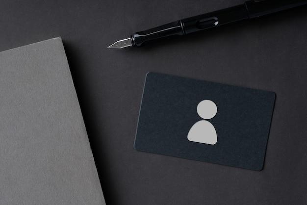 Einfache namenskarte für business- und hr-icon-konzept