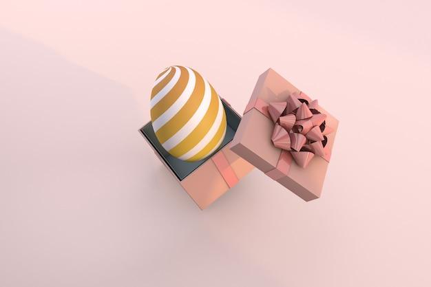 Einfache osterkarte mit goldenem ei und rosa geschenkbox. 3d-render-feier
