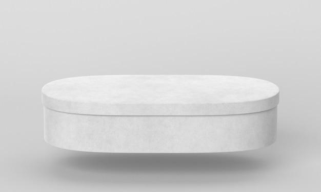 Einfache ovale pappschachtel mit schatten