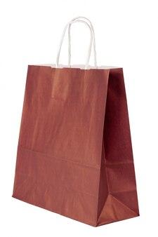 Einfache papiereinkaufstasche lokalisiert auf weißem hintergrund