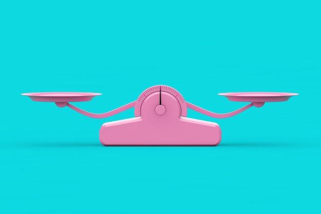 Einfache rosa balance-skala im duotone-stil auf blauem hintergrund. 3d-rendering