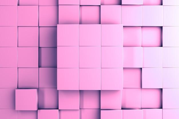 Einfacher abstrakter hintergrund und vorlage eines zentralen dreidimensionalen würfels und würfel in verschiedenen höhen 3d-illustration