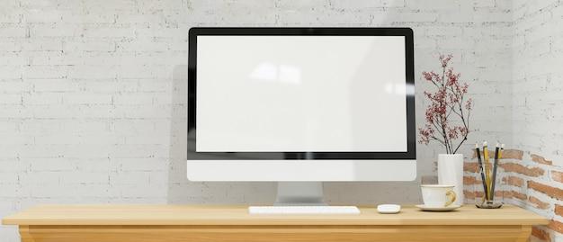 Einfacher arbeitsplatz mit modernem desktop-computermodell in weißer backsteinmauer 3d-rendering