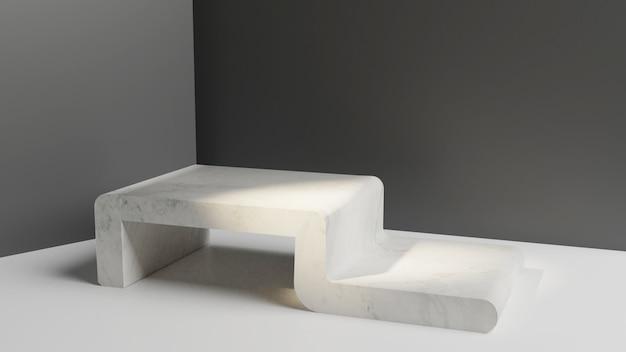 Einfacher moderner studiostand des marmors 3d für darstellungsproduktanzeige