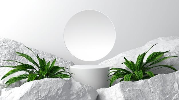 Einfacher product-placement-hintergrund auf weißer geometrie dekoriert mit großen grünen bäumen und großen felsen abstrakter natürlicher stil. 3d-szene.